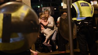 LONDON, ENGLAND - JUNE 04:  People are lead to safety on Southwark Bridge away from London Bridge after an attack on June 4, 2017 in London, England. Police have responded to reports of a van hitting pedestrians on London Bridge in central London.  (Photo by Carl Court/Getty Images)