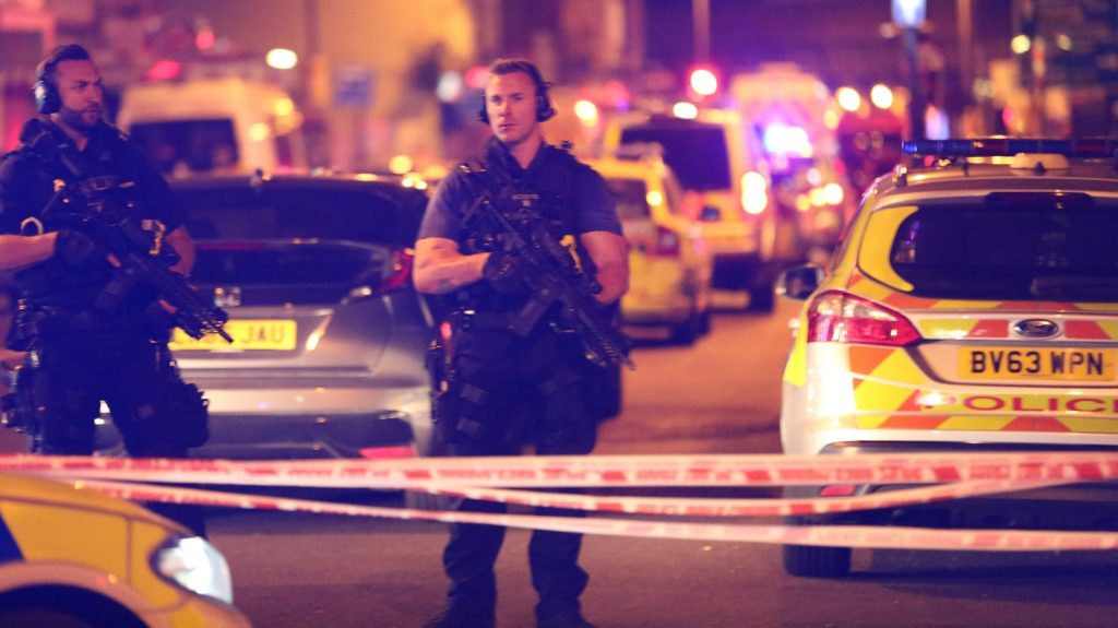 LONDON, UNITED KINGDOM - JUNE 19 : Police take security measures after a vehicle mows down Muslim worshippers on the sidewalk near the Finsbury Park Mosque on Seven Sisters Road in London, England, United Kingdom on June 19, 2017. Tayfun Salci / Anadolu Agency