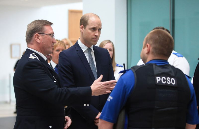 MANCHESTER, UNITED KINGDOM - JUNE 02: Prince William, Duke of Cambridge visits the headquarters of Greater Manchester Police where he met those involved in the response of last week's suicide bomb attack at the Manchester Arena which killed 22 people on June 2, 2017 in Manchester, England. (Photo by Danny Lawson - WPA Pool/Getty Images)