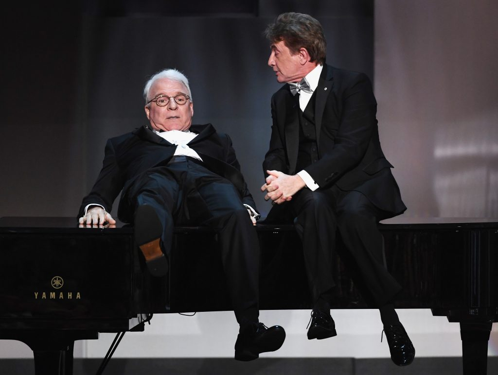 HOLLYWOOD, CA - JUNE 08:  Actors Steve Martin (L) and Martin Short perform onstage during American Film Institute's 45th Life Achievement Award Gala Tribute to Diane Keaton at Dolby Theatre on June 8, 2017 in Hollywood, California. 26658_007  (Photo by Kevin Winter/Getty Images)