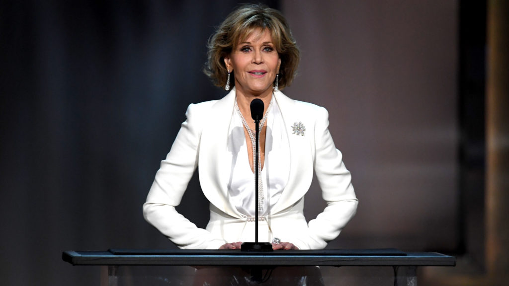 HOLLYWOOD, CA - JUNE 08:  Actor Jane Fonda speaks onstage during American Film Institute's 45th Life Achievement Award Gala Tribute to Diane Keaton at Dolby Theatre on June 8, 2017 in Hollywood, California. 26658_007  (Photo by Kevin Winter/Getty Images)