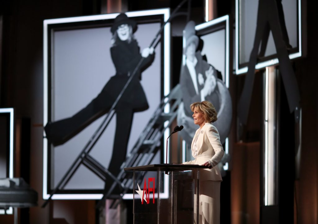 HOLLYWOOD, CA - JUNE 08: Actor Jane Fonda speaks onstage during American Film Institute's 45th Life Achievement Award Gala Tribute to Diane Keaton at Dolby Theatre on June 8, 2017 in Hollywood, California. 26658_002  (Photo by Christopher Polk/Getty Images for Turner)