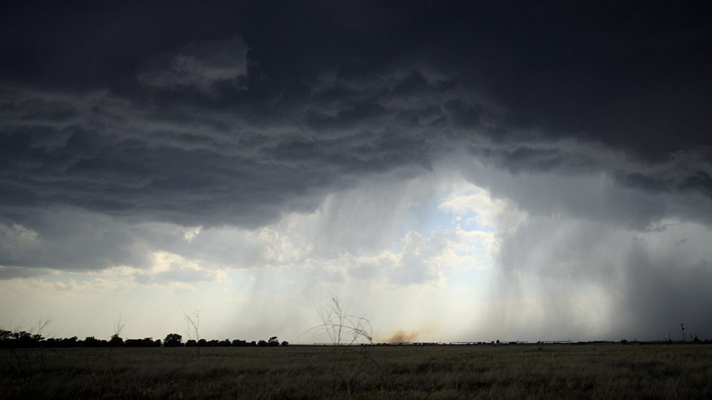 CLOVIS, NM - MAY 9: A rain shaft is visible as a supercell thunderstorm develops, May 9, 2017 near Clovis, New Mexico. Tuesday was the group's second day in the field for the 2017 tornado season for their research project titled 'TWIRL.' With funding from the National Science Foundation and other government grants, scientists and meteorologists from the Center for Severe Weather Research try to get close to supercell storms and tornadoes trying to better understand tornado structure and strength, how low-level winds affect and damage buildings, and to learn more about tornado formation and prediction. (Photo by Drew Angerer/Getty Images)