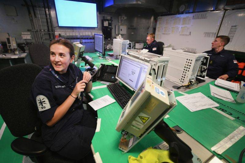 ROSYTH, SCOTLAND - JUNE 21:   Royal Navy crew inside the operations roomonboard the HMS Queen Elizabeth Aircraft Carrier at Rosyth Dockyard on June 21, 2017 in Rosyth,Scotland.HMS Queen Elizabeth, the First of Class Aircraft Carrier, is scheduled to undertake sea trials this summer. This milestone will mark significant progress in delivering HMS Queen Elizabeth, the largest and most powerful surface warship ever built for the Royal Navy.  (Photo by Jeff J Mitchell/Getty Images)