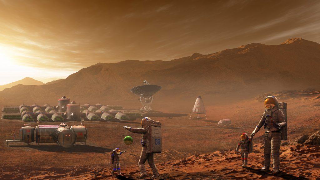 La Colonisation de Mars-Illustration - Mars Colony - Vue d'artiste d'une base habitee sur Mars. A manned habitat on the surface of Mars ©Steven Hobbs/Novapix/Leemage