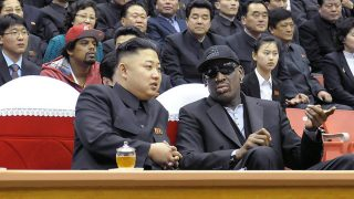 """(FILES) This file photo taken on February 28, 2013 and released by North Korea's official Korean Central News Agency (KCNA) shows North Korean leader Kim Jong-Un (front L) and former NBA star Dennis Rodman (front R) speaking at a basketball game in Pyongyang. Former basketball star Dennis Rodman is expected to arrive in Pyongyang on June 13, 2017, CNN and Fox news reported, his first visit in three years which comes as tensions between the US and North Korea soar. The eccentric ex-Chicago Bulls player has visited Pyongyang at least four times previously, most recently in 2014 when he was filmed singing happy birthday to his """"friend for life"""" North Korean leader Kim Jong-Un. / AFP PHOTO / KCNA VIA KNS / KCNA / South Korea OUT / REPUBLIC OF KOREA OUT   ---EDITORS NOTE--- RESTRICTED TO EDITORIAL USE - MANDATORY CREDIT """"AFP PHOTO/KCNA VIA KNS"""" - NO MARKETING NO ADVERTISING CAMPAIGNS - DISTRIBUTED AS A SERVICE TO CLIENTSTHIS PICTURE WAS MADE AVAILABLE BY A THIRD PARTY. AFP CAN NOT INDEPENDENTLY VERIFY THE AUTHENTICITY, LOCATION, DATE AND CONTENT OF THIS IMAGE. THIS PHOTO IS DISTRIBUTED EXACTLY AS RECEIVED BY AFP.  /"""