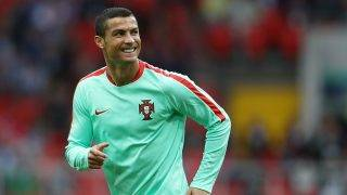 MOSCOW, RUSSIA - JUNE 21: Cristiano Ronaldo of Portugal looks on while warming up prior to the FIFA Confederations Cup Russia 2017 Group A match between Russia and Portugal at Spartak Stadium on June 21, 2017 in Moscow, Russia.  (Photo by Francois Nel/Getty Images)