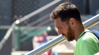 (FILES) This file photo taken on May 26, 2017 shows Barcelona's Argentinian forward Lionel Messi arriving to a training session at the Sports Center FC Barcelona Joan Gamper in Sant Joan Despi, near Barcelona. A Spanish court said today it has replaced with fines the suspended prison sentences handed down to FC Barcelona's star striker Lionel Messi and his father. / AFP PHOTO / LLUIS GENE