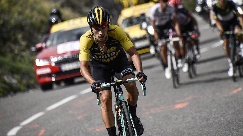 Slovenia's Primoz Roglic rides in a breakaway during the 183 km seventeenth stage of the 104th edition of the Tour de France cycling race on July 19, 2017 between Le La Mure and Serre-Chevalier, French Alps.  / AFP PHOTO / Jeff PACHOUD