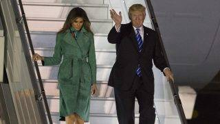 WARSAW, POLAND - JULY 05:  US President Donald Trump (R) and his wife Melania Trump (L) leave the presidential plane Air Force One as they arrive at Chopin Airport, Warsaw, Poland on July 05, 2017.   Omar Marques / Anadolu Agency