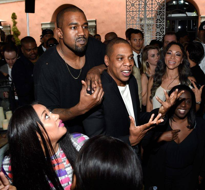 BEVERLY HILLS, CA - FEBRUARY 07:  (Exclusive Coverage) Kanye West and Jay Z attend the Roc Nation and Three Six Zero  Pre-GRAMMY Brunch at Private Residence on February 7, 2015 in Beverly Hills, California.  (Photo by Kevin Mazur/Getty Images For Roc Nation)