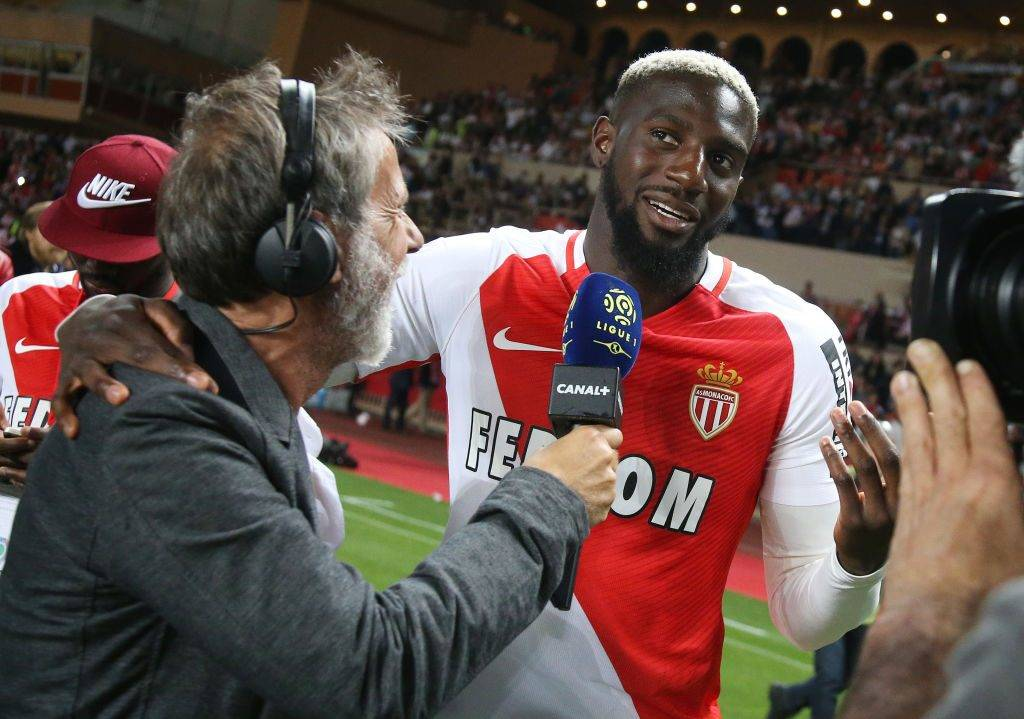MONACO, MONACO - MAY 17: Tiemoue Bakayoko of Monaco is interviewed by Laurent Paganelli during the French League 1 Championship title celebration following the French Ligue 1 match between AS Monaco and AS Saint-Etienne (ASSE) at Stade Louis II on May 17, 2017 in Monaco, Monaco. (Photo by Jean Catuffe/Getty Images)