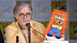 "SAN DIEGO, CA - JULY 22: Writer/producer Matt Groening attends ""The Simpsons"" panel during Comic-Con International 2017 at San Diego Convention Center on July 22, 2017 in San Diego, California.   Mike Coppola/Getty Images/AFP"