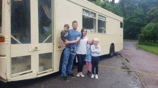 PIC FROM CATERS NEWS - (PICTURED Tom, Partner Kayley and chidlren, Logan, 8, Poppy-mae, 7, Henry, 3) - A man who bought a bus he found on Ebay converted it into a travelling motor home for him and his family and its incredibly. It wasnt until he bought the 23-year-old bus that he realised it was was used on a route that passed their family home everyday. Tom Grantham, 29, from Lincolnshire, bought the bus for 1,200 six-years ago on a whim and has spent approximately 10,000 converting it twice. Tom, who works as a horse dentist, said: Me and my wife, Kayla, were looking for a motor home and saw the bus and thought why not. SEE CATERS COPY