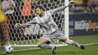 COLUMBUS, OH - JULY 28:  Aston Villa goalkeeper Stuart Taylor dives after a shot during a match against the Columbus Crew at Columbus Crew Stadium July 28, 2007 in Columbus, Ohio.  Aston Villa won 3-1.   (Photo by Jamie Sabau/Getty Images)