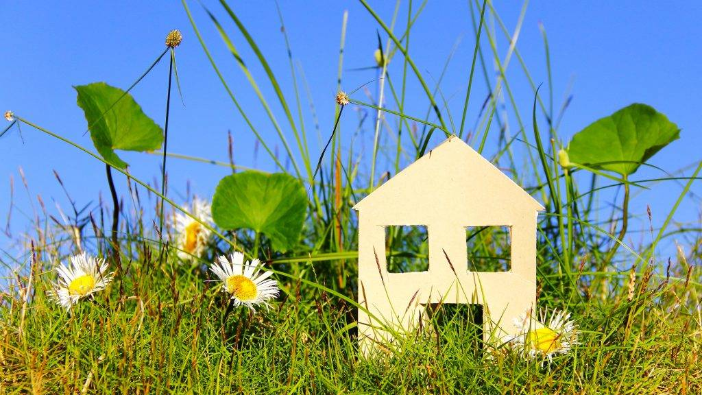 paper house on meadow with blue sky