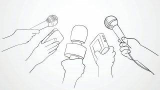 Line art illustration of hands holding microphones and recorders, journalism symbol