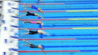 Budapest, 2017. július 27.Elrajtol a mezőny a női 100 méteres gyorsúszás előfutamában a 17. vizes világbajnokságon a Duna Arénában 2017. július 27-én.MTI Fotó: Kovács Tamás