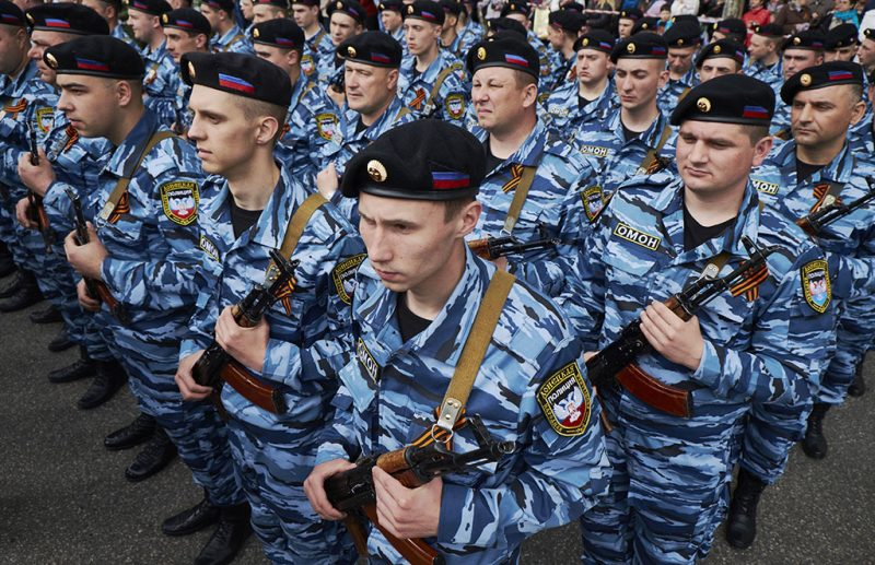DONETSK, UKRAINE - MAY 09:Pro-Russian rebels stand in line prior to the military parade to celebrate VE Day on May 9, 2015 in Donetsk, Ukraine. Ceremonies are being held across Europe to mark 70 years since victory in Europe over Nazi Germany during World War II. (Photo by Pierre Crom/Getty Images)
