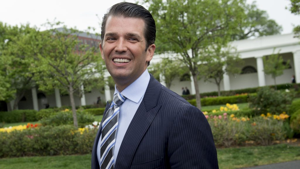(FILES): This file photo taken on April 17, 2017 shows Donald Trump, Jr., son of US President Donald Trump, attending the 139th White House Easter Egg Roll on the South Lawn of the White House in Washington, DC. The New York Times on July 9. 2017 reported Donald Trump Jr., son-in-law Jared Kushner and then-Trump campaign chairman Paul Manafort met in New York in June 2016 with a Russian lawyer with Kremlin connections, the earliest such contact yet reported.  / AFP PHOTO / SAUL LOEB
