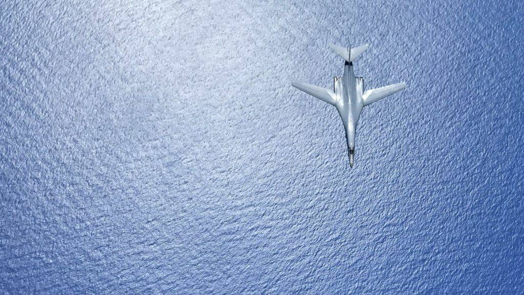 """In this image obtained from the US Department of Defense, a US Air Force B-1B Lancer flies during a 10-hour mission from Andersen Air Force Base, Guam, flying in the vicinity of Kyushu, Japan, the East China Sea, and the Korean peninsula, on August  7, 2017. US Defense Secretary Jim Mattis warned North Korea on August 9, 2017, that it would be """"grossly"""" outmatched in any conflict with the US, telling Pyongyang to stop considering any action that risked """"the destruction of its people"""". / AFP PHOTO / US AIR FORCE / Gerald Willis / RESTRICTED TO EDITORIAL USE - MANDATORY CREDIT """"AFP PHOTO / US AIR FORCE / Airman 1st Class Gerald Willis"""" - NO MARKETING NO ADVERTISING CAMPAIGNS - DISTRIBUTED AS A SERVICE TO CLIENTS"""