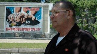 """This handout from VeryMuchSo Productions/Koryo Tours taken in May 2005 and released on August 21, 2017 shows James Joseph Dresnok, a US defector to North Korea, in an unknown location. Dresnok, the only US soldier known still to be living in North Korea after defecting more than five decades ago, died in November 2016 pledging loyalty to the """"great leader Kim Jong-Un"""", his sons said. / AFP PHOTO / VERYMUCHSO PRODUCTIONS AND Koryo Tours / Handout / RESTRICTED TO EDITORIAL USE - MANDATORY CREDIT """"AFP PHOTO / VeryMuchSo Productions/Koryo Tours """" - NO MARKETING NO ADVERTISING CAMPAIGNS - DISTRIBUTED AS A SERVICE TO CLIENTS - NO ARCHIVE"""