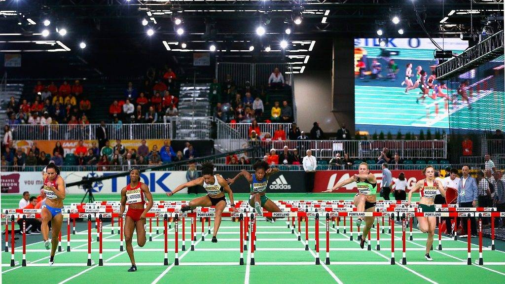 PORTLAND, OR - MARCH 18: (L-R) Andrea Ivancevic of Croatia, wKendra Harrison of the United States, Angela Whyte of Canada, Fabiana Moraes of Brazil, Marina Tomic of Slovenia and Luca Kozak of Hungary compete in the Women's 60 Metres Hurdles heats during day two of the IAAF World Indoor Championships at Oregon Convention Center on March 18, 2016 in Portland, Oregon.   Christian Petersen/Getty Images for IAAF/AFP