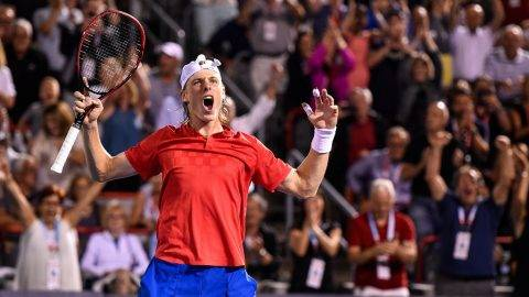 MONTREAL, QC - AUGUST 11: Denis Shapovalov of Canada reacts after defeating Adrian Mannarino of France during day eight of the Rogers Cup presented by National Bank at Uniprix Stadium on August 11, 2017 in Montreal, Quebec, Canada.   Minas Panagiotakis/Getty Images/AFP