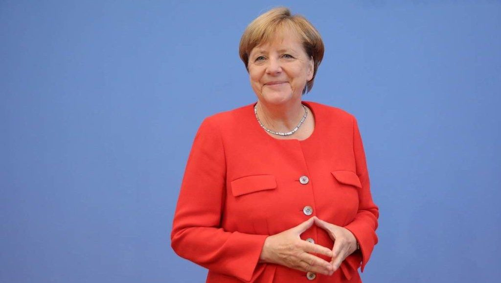 German Chancellor Angela Merkel(CDU)arrives at the summer press conference at the federal press conference ('Bundespressekonferenz') in Berlin, Germany, 29 August 2017. Photo: Michael Kappeler/dpa