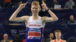 SHEFFIELD, ENGLAND - FEBRUARY 28:  Tom Bosworth of Tonbridge celebrates winning the Mens 3,000m Wlak Final during day two of the Indoor British Championships at English Institute of Sport on February 28, 2016 in Sheffield, England.  (Photo by Matthew Lewis/Getty Images)