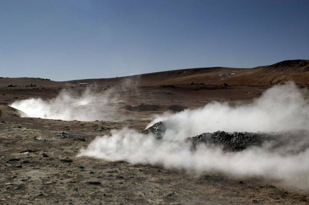 Geysers release steam in Atacama Desert, Bolivia.The Atacama Desert crosses into parts of Peru, Argentina, and most of Chile, and is the most arid environment on earth. (Photo by Paulo Fridman/Corbis via Getty Images)