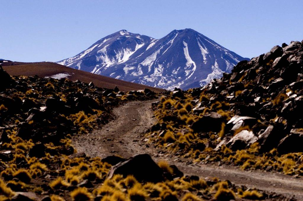 A road to Licancabur Volcano, on the border of Bolivia and Chile, near the Atacama Desert.   Location: Chile and Bolivia.  (Photo by Paulo Fridman/Corbis via Getty Images)