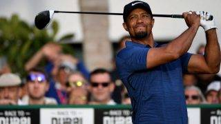 DUBAI, UNITED ARAB EMIRATES - FEBRUARY 02:  Tiger Woods of the USA hits his opening tee shot on the par five 10th hole during the first round of the Omega Dubai Desert Classic at Emirates Golf Club on February 2, 2017 in Dubai, United Arab Emirates.  (Photo by Ross Kinnaird/Getty Images)