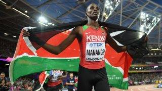 LONDON, ENGLAND - AUGUST 13:  Elijah Motonei Manangoi of Kenya celebrates with Kenya flag after winning  gold in the Men's 1500 metres final during day ten of the 16th IAAF World Athletics Championships London 2017 at The London Stadium on August 13, 2017 in London, United Kingdom.  (Photo by Matthias Hangst/Getty Images)