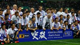 SAITAMA, JAPAN - AUGUST 31:  Japanese players and staffs celebrate their 2-0 victory and qualified for the FIFA World Cup Russia after the FIFA World Cup Qualifier match between Japan and Australia at Saitama Stadium on August 31, 2017 in Saitama, Japan.  (Photo by Kiyoshi Ota/Getty Images)