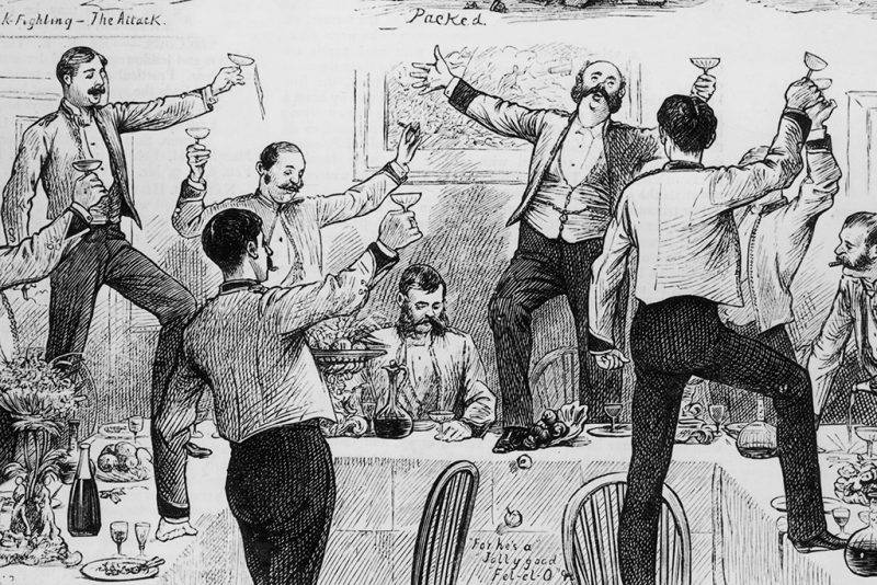 Scenes from the officers' quarters of a British regiment, circa 1850. These include drunken carousing and a pasttime known as 'cockfighting'. (Photo by Hulton Archive/Getty Images)
