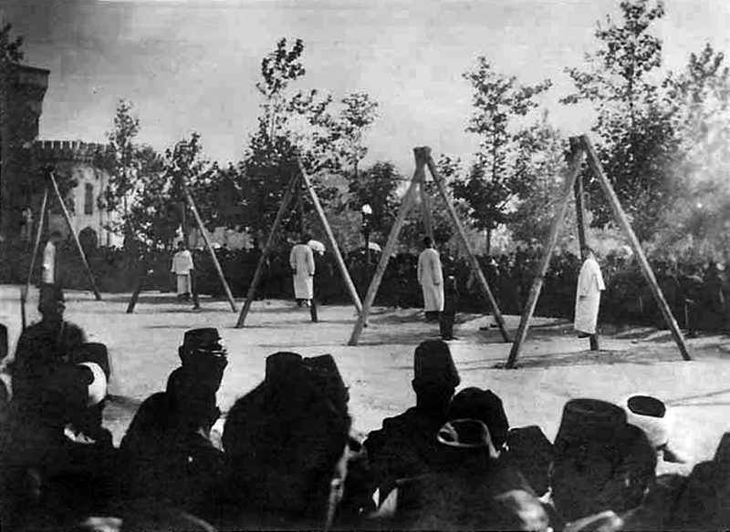A picture released by the Armenian Genocide Museum-Institute purportedly shows Armenians hung by Ottoman forces in Constantinople in June 1915. Armenians say up to 1.5 million of their forebears were killed in a 1915-16 genocide by Turkey's former Ottoman Empire. Turkey says 500,000 died and ascribes the toll to fighting and starvation during World War I. AFP PHOTO / ARMENIAN GENOCIDE MUSEUM INSTITUTE / AFP PHOTO / AGMI / STR