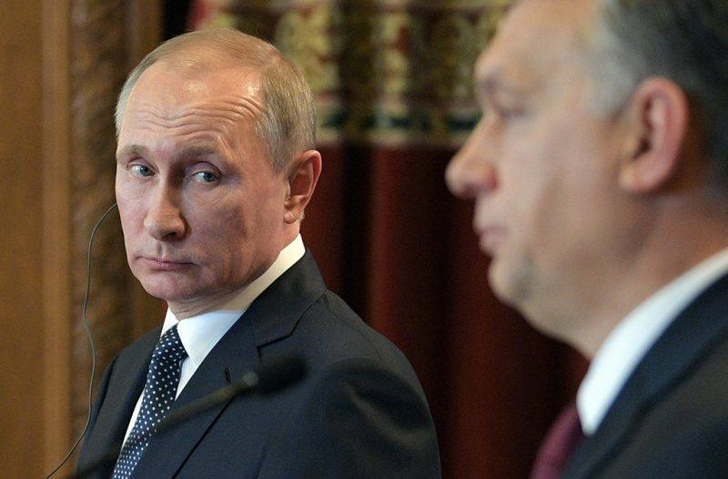 3020538 02/02/2017 February 2, 2017. Russian President Vladimir Putin and Hungarian Prime Minister Viktor Orban, right, during a joint press conference following their meeting in Budapest. Alexei Druzhinin/Sputnik