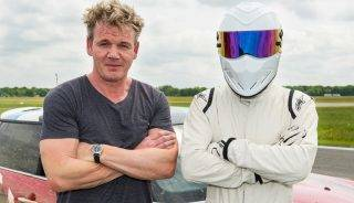 Picture Shows: The Stig with Gordon Ramsay, the Star in the Rallycross Car