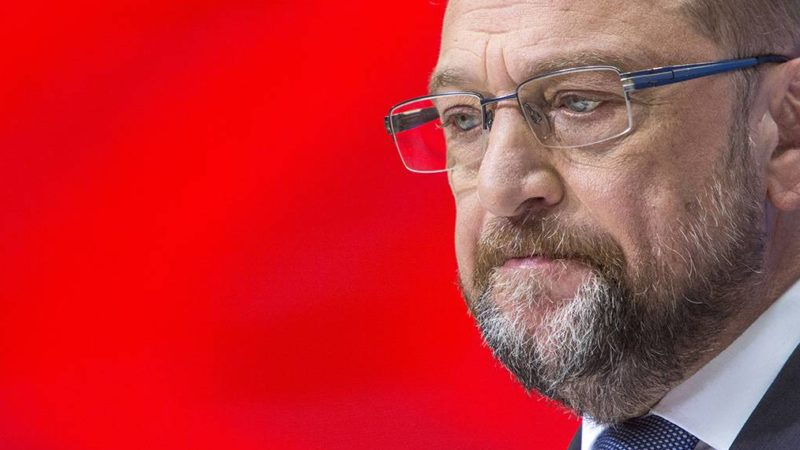 Martin Schulz, Chancellor Candidate and Head of the Social Democratic Party (SPD) is seen speaking during a press conference at the party's headuquarters, The Willy Brandt Haus in Berlin, on September 11, 2017. With less then two week until the upcoming general elections in Germany, on September 24, polls show that Schulz's pary falls about 14 precent points behind The Chancellor Angela Merkel's party The Christian Democratic Union (CDU).***ISRAEL OUT*** (Photo by Omer Messinger/NurPhoto)