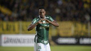 Brazil's Palmeiras player Yerry Mina celebrates after scoring a goal against Uruguay's Penarol during their Libertadores Cup football match at the Campeones del Siglo Stadium in Montevideo on April 26, 2017.  / AFP PHOTO / MIGUEL ROJO