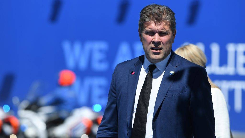 Iceland's Prime Minister Bjarni Benediktsson arrives for the NATO (North Atlantic Treaty Organization) summit at the NATO headquarters, in Brussels, on May 25, 2017. / AFP PHOTO / Emmanuel DUNAND