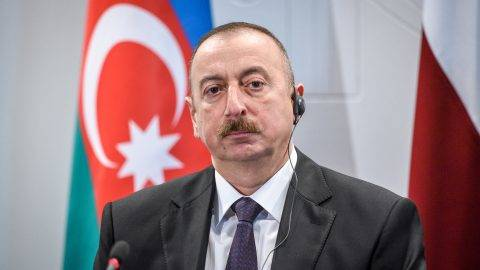 Azeri President Ilham Aliyev attends a press conference after a meeting with Latvian counterpart at the Riga castle, Latvia, on July 17, 2017.    Ilham Aliyev  is on an official visit to Latvia. / AFP PHOTO / Ilmars ZNOTINS