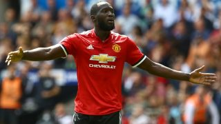 Manchester United's Belgian striker Romelu Lukaku celebrates scoring the team's second goal during the English Premier League football match between Swansea City and Manchester United at The Liberty Stadium in Swansea, south Wales on August 19, 2017. / AFP PHOTO / Geoff CADDICK / RESTRICTED TO EDITORIAL USE. No use with unauthorized audio, video, data, fixture lists, club/league logos or 'live' services. Online in-match use limited to 75 images, no video emulation. No use in betting, games or single club/league/player publications.  /