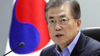 """South Korean President Moon Jae-in speaks during an emergency National Security Council meeting at the presidential Blue House in Seoul on September 3, 2017. South Korean President Moon Jae-In called for the """"strongest punishment"""" against North Korea, including new United Nations sanctions, after Pyongyang said it successfully tested a hydrogen bomb on September 3. / AFP PHOTO / YONHAP / str /  - South Korea OUT / REPUBLIC OF KOREA OUT  NO ARCHIVES  RESTRICTED TO SUBSCRIPTION USE"""