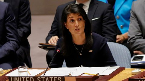 """United States Ambassador to the United Nations Nikki Haley speaks during a UN Security Council emergency meeting over North Korea's latest missile launch, on September 4, 2017 at UN Headquarters in New York. The US on Monday urged the UN Security Council to impose the """"strongest possible measures"""" against North Korea in response to its sixth and most powerful nuclear test. """"Only the strongest sanctions will enable us to resolve this problem through diplomacy,"""" Haley told the council. / AFP PHOTO / KENA BETANCUR"""