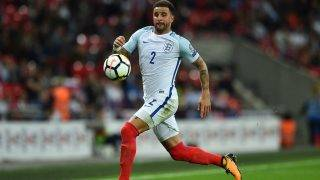 England's defender Kyle Walker runs with the ball during the World Cup 2018 qualification football match between England and Slovakia at Wembley Stadium in London on September 4, 2017.  / AFP PHOTO / Glyn KIRK / NOT FOR MARKETING OR ADVERTISING USE / RESTRICTED TO EDITORIAL USE