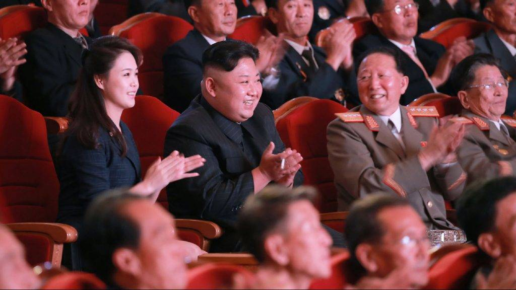 "This undated picture released by North Korea's official Korean Central News Agency (KCNA) on September 10, 2017 shows North Korean leader Kim Jong-Un (centre row 2nd L) and his wife Ri Sol-Ju (centre row L) attending an art performance dedicated to nuclear scientists and technicians, who worked on a hydrogen bomb which the regime claimed to have successfully tested, at the People's Theatre in Pyongyang. / AFP PHOTO / KCNA VIA KNS / STR / South Korea OUT / REPUBLIC OF KOREA OUT   ---EDITORS NOTE--- RESTRICTED TO EDITORIAL USE - MANDATORY CREDIT ""AFP PHOTO/KCNA VIA KNS"" - NO MARKETING NO ADVERTISING CAMPAIGNS - DISTRIBUTED AS A SERVICE TO CLIENTS THIS PICTURE WAS MADE AVAILABLE BY A THIRD PARTY. AFP CAN NOT INDEPENDENTLY VERIFY THE AUTHENTICITY, LOCATION, DATE AND CONTENT OF THIS IMAGE. THIS PHOTO IS DISTRIBUTED EXACTLY AS RECEIVED BY AFP.  /"