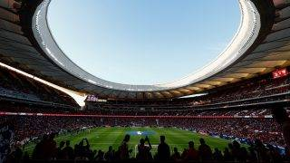 View taken on on September 16, 2017 of the new Wanda Metropolitano stadium before the Spanish league football match Club Atletico de Madrid vs Malaga CF in Madrid. / AFP PHOTO / OSCAR DEL POZO