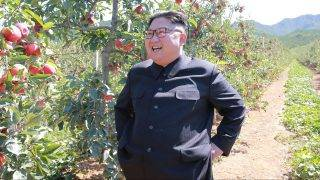 """This undated picture released from North Korea's official Korean Central News Agency (KCNA) on September 21, 2017 shows North Korean leader Kim Jong-Un visiting a fruit farm at Kwail-?p County, South Hwanghae Province. / AFP PHOTO / KCNA VIS KNS AND AFP PHOTO / STR / South Korea OUT / REPUBLIC OF KOREA OUT   ---EDITORS NOTE--- RESTRICTED TO EDITORIAL USE - MANDATORY CREDIT """"AFP PHOTO/KCNA VIA KNS"""" - NO MARKETING NO ADVERTISING CAMPAIGNS - DISTRIBUTED AS A SERVICE TO CLIENTS THIS PICTURE WAS MADE AVAILABLE BY A THIRD PARTY. AFP CAN NOT INDEPENDENTLY VERIFY THE AUTHENTICITY, LOCATION, DATE AND CONTENT OF THIS IMAGE. THIS PHOTO IS DISTRIBUTED EXACTLY AS RECEIVED BY AFP.  /"""